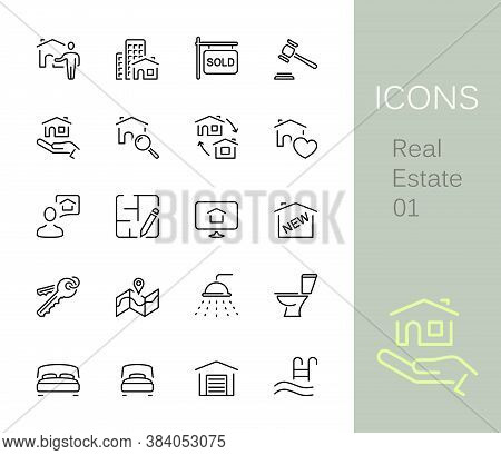 Real Estate Outline Icons. Set Of 20 Real Estate Outline Icons, Vector Illustrations. Contains Such