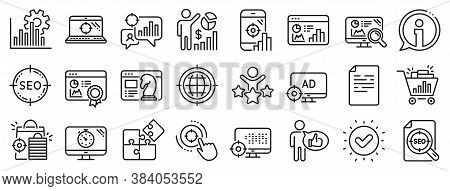 Set Of Increase Sales, Business Ad Strategy And Website Optimization Icons. Seo Line Icons. Puzzle,