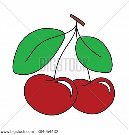 Two Red Cherries Outlined In Dark Outline Hand Drawing Clip Art. Paired Cherries, Two Green Leaves A