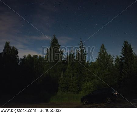 Reitzenhain, Germany - July 27, 2020: Nighty Sky In Ore Mountains