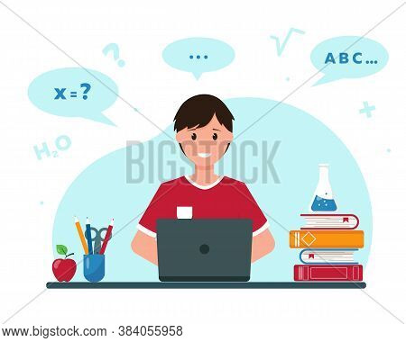 Happy Boy Learning Online From Home. Online Education And Homework Concept. Vector Illustration.