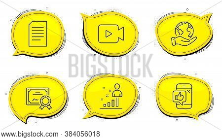 Document Sign. Diploma Certificate, Save Planet Chat Bubbles. Video Camera, Stats And Mobile Like Li