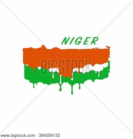 Painted Niger Flag, Niger Flag Paint Drips. Stock Vector Illustration Isolated On White Background