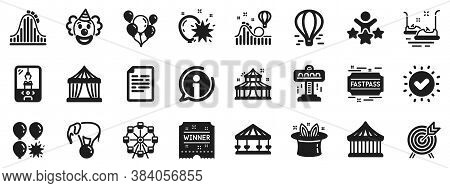 Set Of Carousel, Roller Coaster And Circus Icons. Amusement Park Icons. Air Balloon, Crane Claw Mach