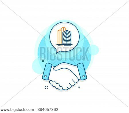 City Architecture Sign. Handshake Deal Complex Icon. Skyscraper Buildings Line Icon. Town Symbol. Ag