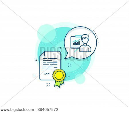 Education Board Sign. Certification Complex Icon. Presentation Line Icon. Lecture With Charts Symbol