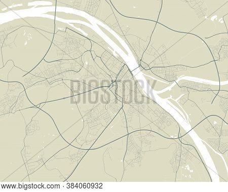 Vector Map Of Mainz. Street Map Poster Illustration. Mainz Map Art.