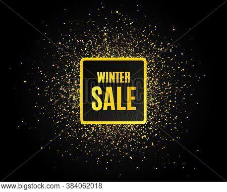 Winter Sale. Golden Glitter Pattern. Special Offer Price Sign. Advertising Discounts Symbol. Black B