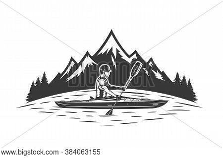 Kayaking On Mountain Lake Vector Illustration