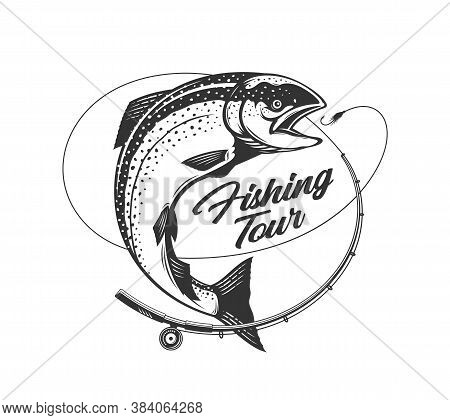 Fishing Tour Logo, Salmon Fishing Club Badge