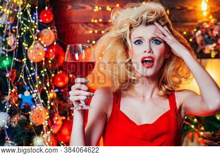 Crazy Christmas And Excited New Year Womans Holidays. Nervous, Thrilled And Scared Emotions. Surpris