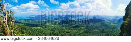 Amazing View From The Top Of A Viewpoint, Karst Outcrops And Blue Cloudy Sky