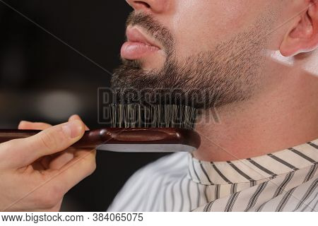 Haircut Head And Beard In A Barbershop. Barber Puts On And Combs The Client S Beard. The Process Of