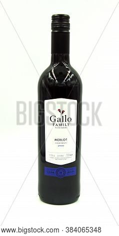 Zaandam, The Netherlands - September 6, 2020: Bottle Of Gallo Merlot Red Wine Against A White Backgr