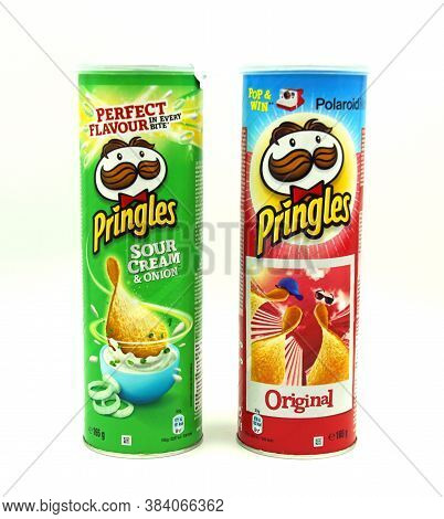 Zaandam, The Netherlands - September 6, 2020: Green And Red Pringles Original And Sour Cream And Oni