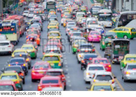 Traffic Jam On Bangkok Metropolis On Blurred Focus Background, Traffic Jam Are One Of The Major Prob