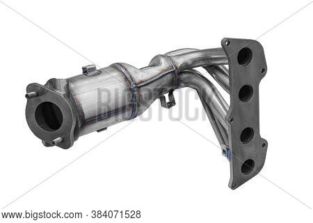 New Car Exhaust Manifold On A White Background