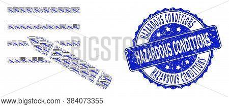 Hazardous Conditions Textured Round Seal Print And Vector Recursive Composition Edit Text. Blue Stam