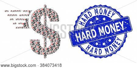 Hard Money Unclean Round Stamp Seal And Vector Fractal Collage American Dollar. Blue Stamp Includes