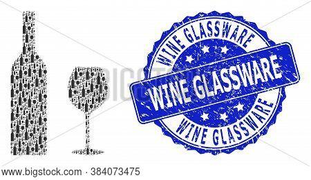 Wine Glassware Textured Round Stamp Seal And Vector Recursion Mosaic Wine Glassware. Blue Stamp Seal