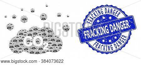 Fracking Danger Unclean Round Seal Imitation And Vector Recursive Mosaic Co2 Gas Emission. Blue Stam