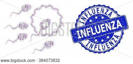 Influenza Grunge Round Stamp Seal And Vector Recursion Mosaic Sperm Insemination. Blue Stamp Seal In