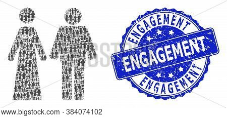 Engagement Dirty Round Seal And Vector Fractal Collage Married Groom And Bribe. Blue Seal Contains E