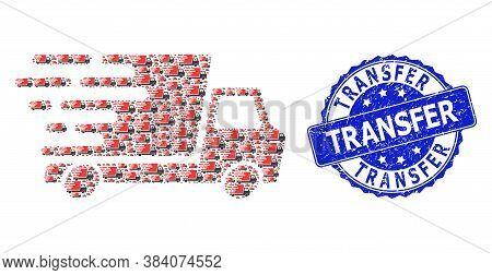 Transfer Scratched Round Stamp Seal And Vector Recursive Collage Delivery Car. Blue Seal Has Transfe