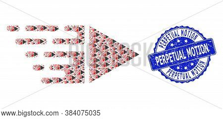 Perpetual Motion Rubber Round Seal Imitation And Vector Recursive Mosaic Motion. Blue Seal Has Perpe