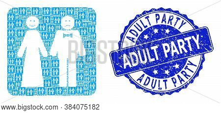 Adult Party Corroded Round Stamp Seal And Vector Fractal Mosaic Wedding Emotions. Blue Stamp Seal Co