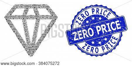 Zero Price Corroded Round Seal Print And Vector Recursive Mosaic Diamond. Blue Stamp Seal Has Zero P
