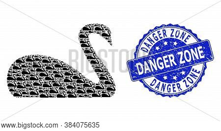 Danger Zone Scratched Round Seal Print And Vector Recursion Collage Goose. Blue Stamp Seal Contains