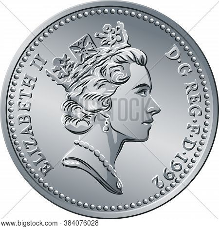 British Money Silver Coin Ten Pee Or Ten Pence, Queen On Obverse