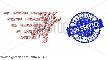 24h Service Unclean Round Stamp And Vector Recursion Collage Wrench. Blue Stamp Contains 24h Service