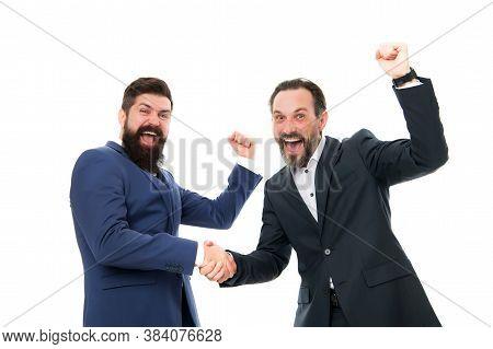 Congratulations, We Did It. Happy Businessmen Express Congratulations. Bearded Men Celebrate Success