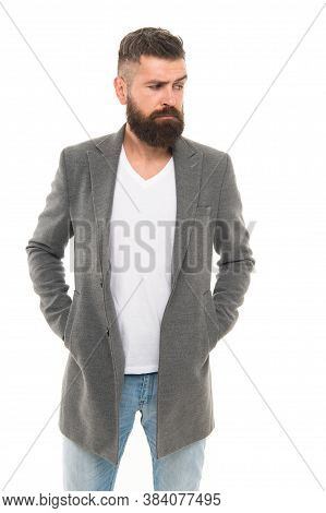 Simple And Casual. Casual Outfit. Menswear And Fashion Concept. Man Bearded Hipster Stylish Fashiona