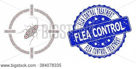 Flea Control Treatment Rubber Round Seal And Vector Recursive Composition Target Cockroach. Blue Sta