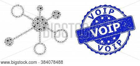 Voip Rubber Round Seal Imitation And Vector Fractal Collage Relations. Blue Stamp Seal Has Voip Tag