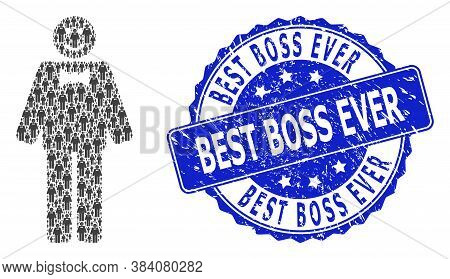 Best Boss Ever Corroded Round Seal Print And Vector Recursive Composition Happy Mister. Blue Seal Co