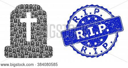 R.i.p. Grunge Round Seal Imitation And Vector Recursion Mosaic Cemetery. Blue Seal Has R.i.p. Text I