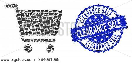 Clearance Sale Textured Round Stamp Seal And Vector Recursion Collage Shopping Cart. Blue Stamp Seal