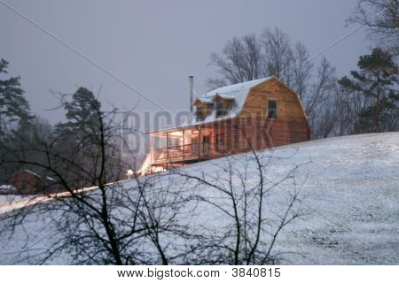 Snowy Cabin Morning