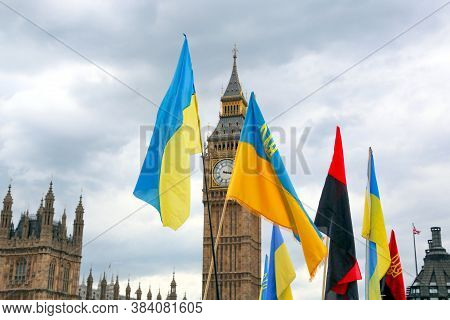 London, Great Britain -may 22, 2016: National Flags Of Ukraine On The Background Of Big Ben On The W