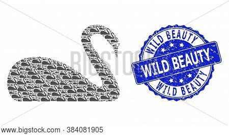 Wild Beauty Textured Round Stamp Seal And Vector Recursion Mosaic Swan. Blue Stamp Seal Contains Wil