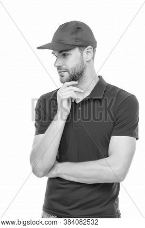 Both Virile And Unshaven. Unshaven Guy In Casual Style Isolated On White. Handsome Man With Unshaven