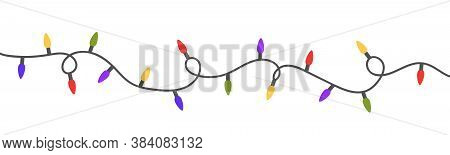 Christmas Color Lights Isolated On White Background. Bright Colored Garland Lights Decoration. Glowi