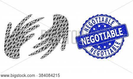 Negotiable Scratched Round Stamp Seal And Vector Recursive Collage Hands. Blue Stamp Seal Has Negoti