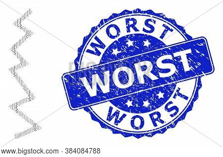Worst Grunge Round Seal Imitation And Vector Recursive Composition Zigzag Line. Blue Stamp Seal Cont