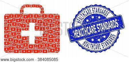 Healthcare Standards Textured Round Stamp And Vector Fractal Mosaic Medical Kit Case. Blue Stamp Inc
