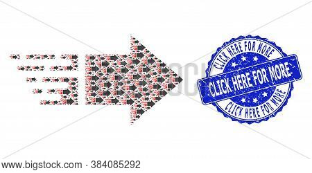 Click Here For More Scratched Round Seal Imitation And Vector Recursive Mosaic Move Right. Blue Stam